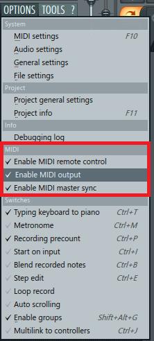 MIDI устройство опции