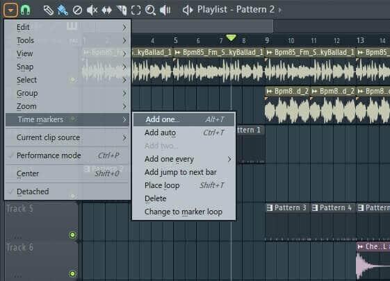 Как поставить маркеры в плейлисте Fl Studio