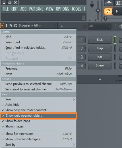 Скрытие папок браузера